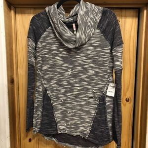 Cowl neck sweater, grunge look NWT